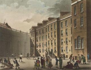 La Fleet Prison di Londra nel 1808. Qui furono rinchiusi per secoli i debitori insolventi.