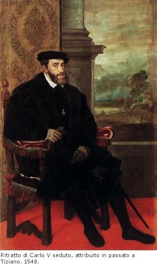 Ritratto di Carlo V seduto, attribuito in passato a Tiziano. 1548.