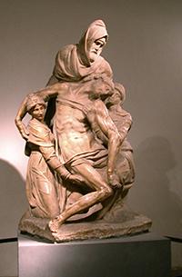 Michelangelo. Pietà. Nicodemo regge il Cristo nella Deposizione